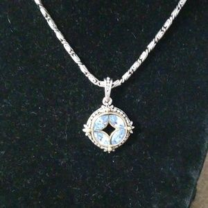 Gorgeous lt sapphire Rhinestone necklace 1928